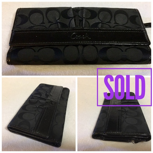 Coach Handbags - SOLD! COACH Soho Black Signature Clutch Wallet